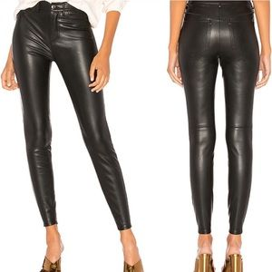 Free People Vegan Leather High Rise Skinny Jeans